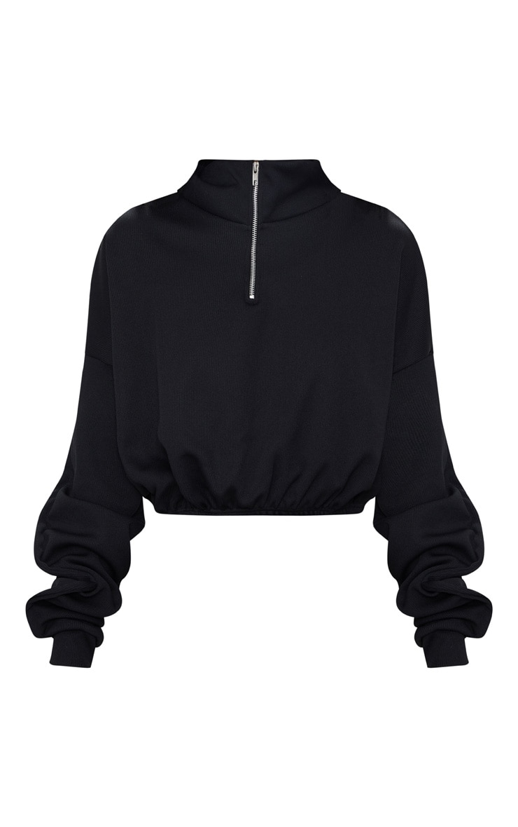 Black Rib Zip Front Long Sleeve Sweater  4
