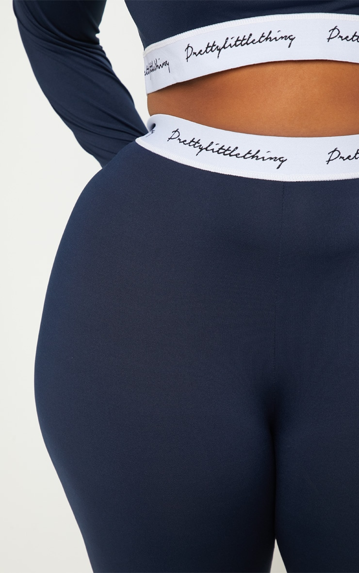 PRETTYLITTLETHING Plus Navy Elasticated Band Leggings 5