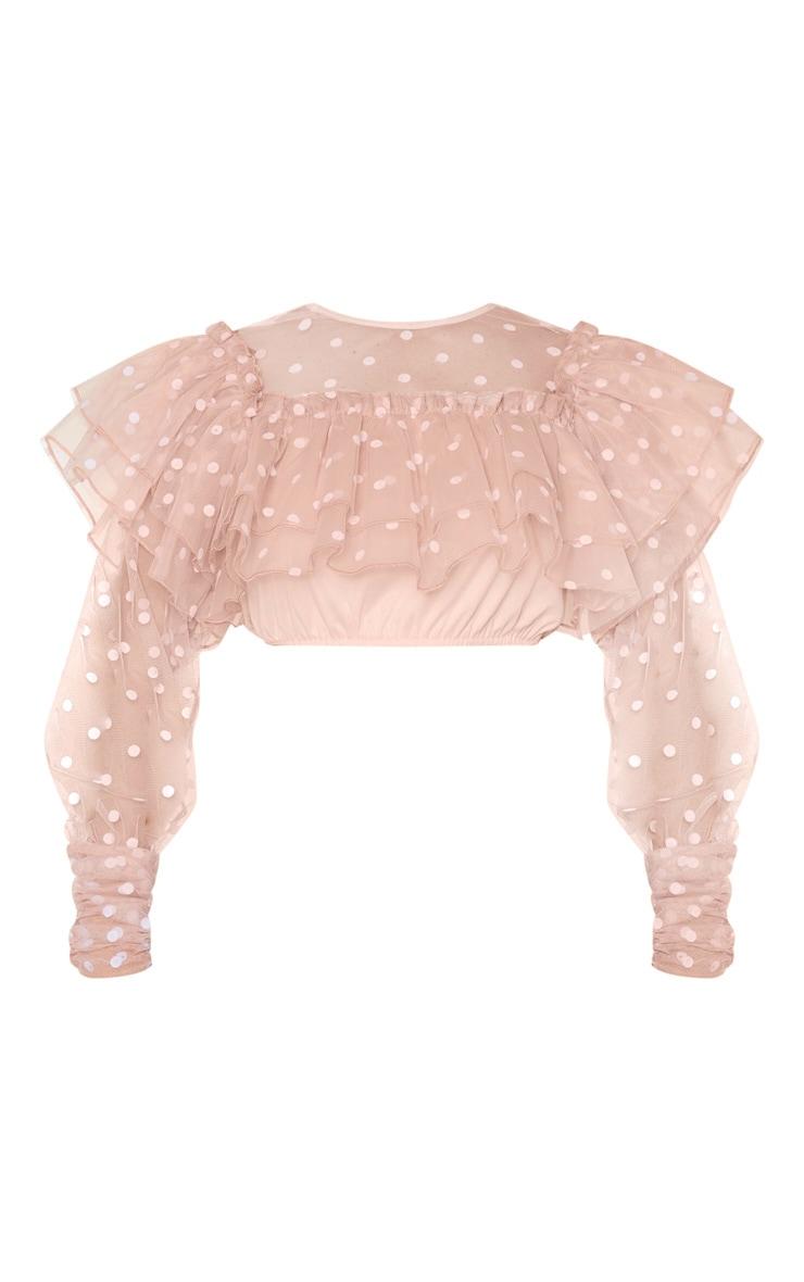 Blush Pink Mesh Polka Dot Extreme Frill Crop Top 5