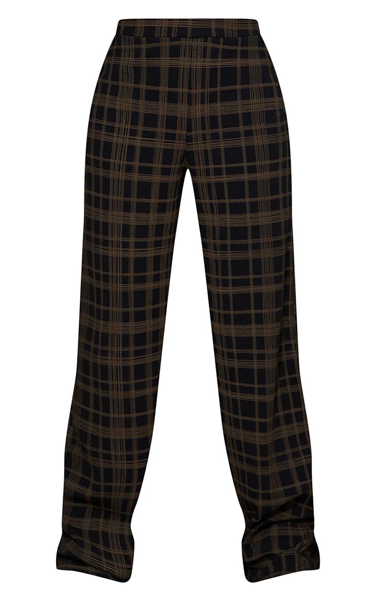 Black Classic Check Wide Leg Trousers 5