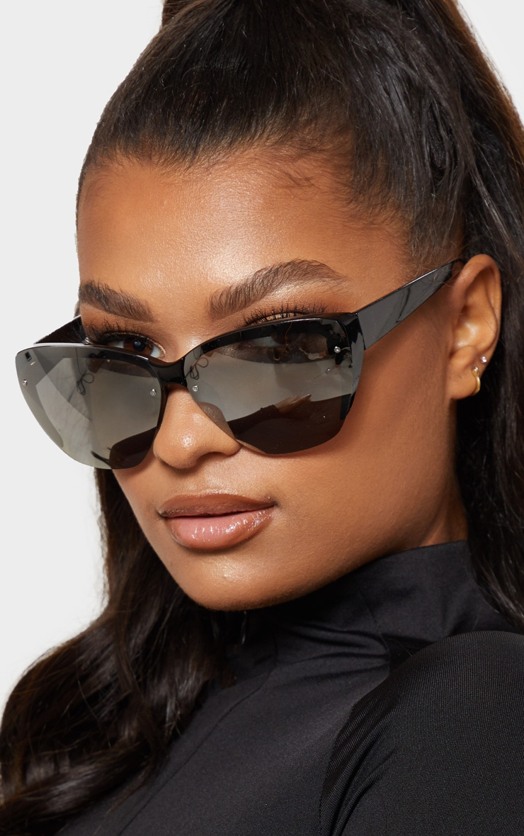 04821ccaff Silver Iridescent Frameless Visor Sunglasses image 1