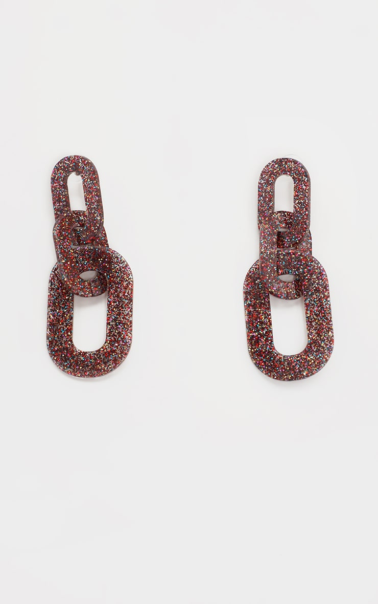 Red Sparkly Chain Drop Earrings 2
