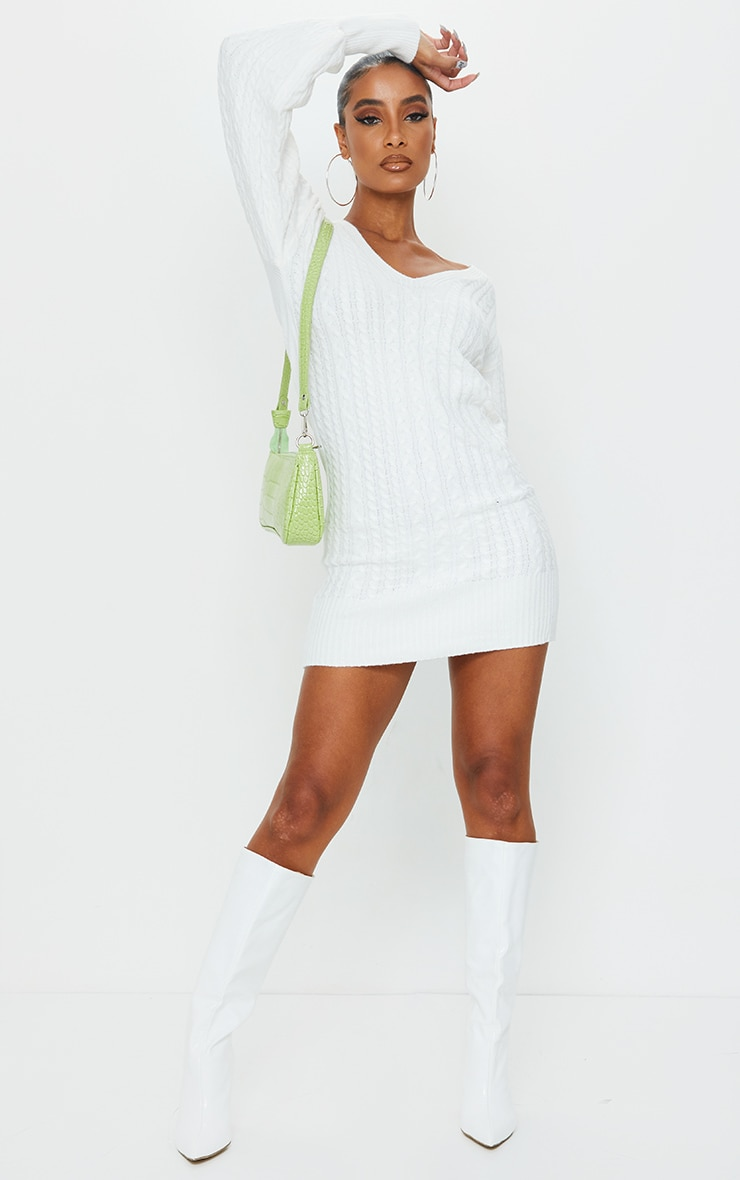 Cream Cable Knit V Front Jumper Dress 3