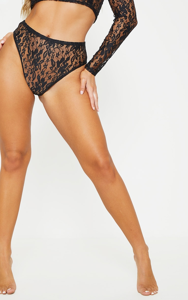 Black Lace Crop Top And Knicker Set 5