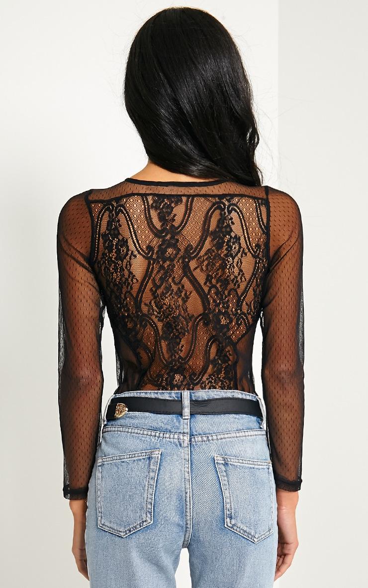 Rosy Black Lace Bodysuit 3
