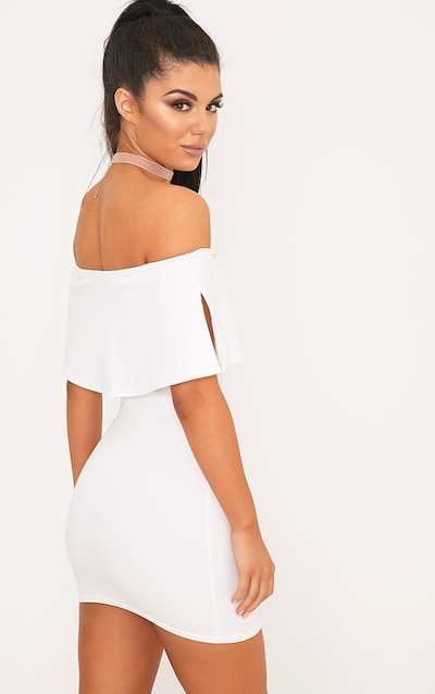 Carley White Bardot Frill Bodycon Dress