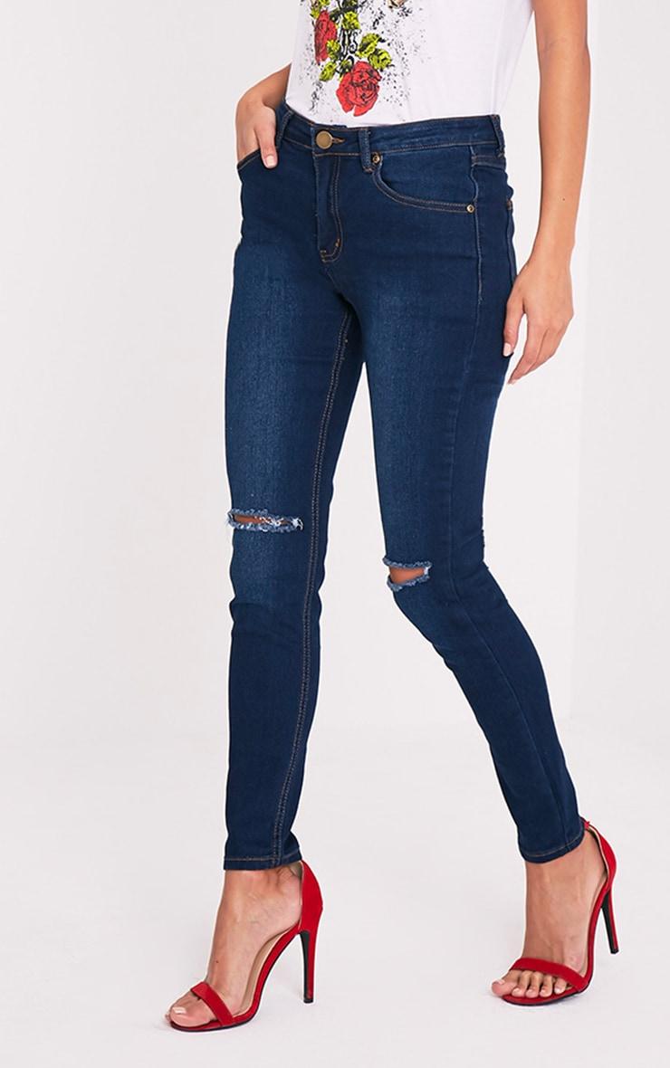 Dark Wash Knee Rip Slim Jean 2