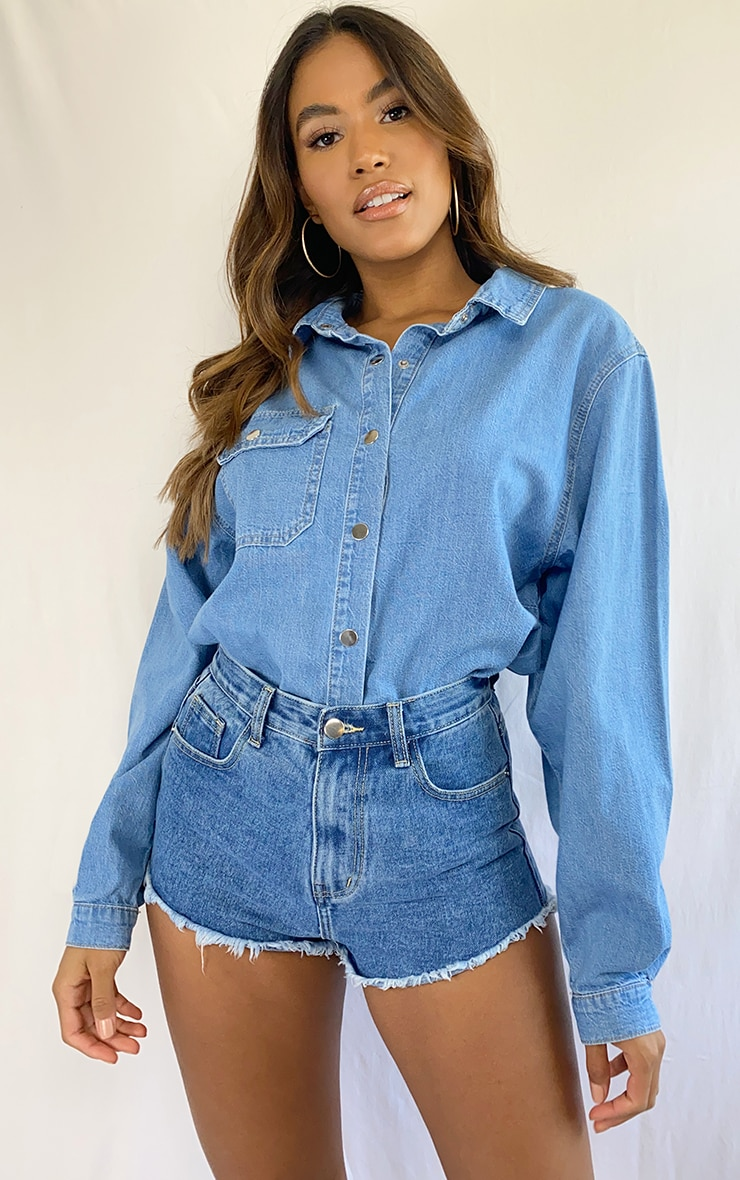 Light Blue Wash Popper Denim Shirt 1