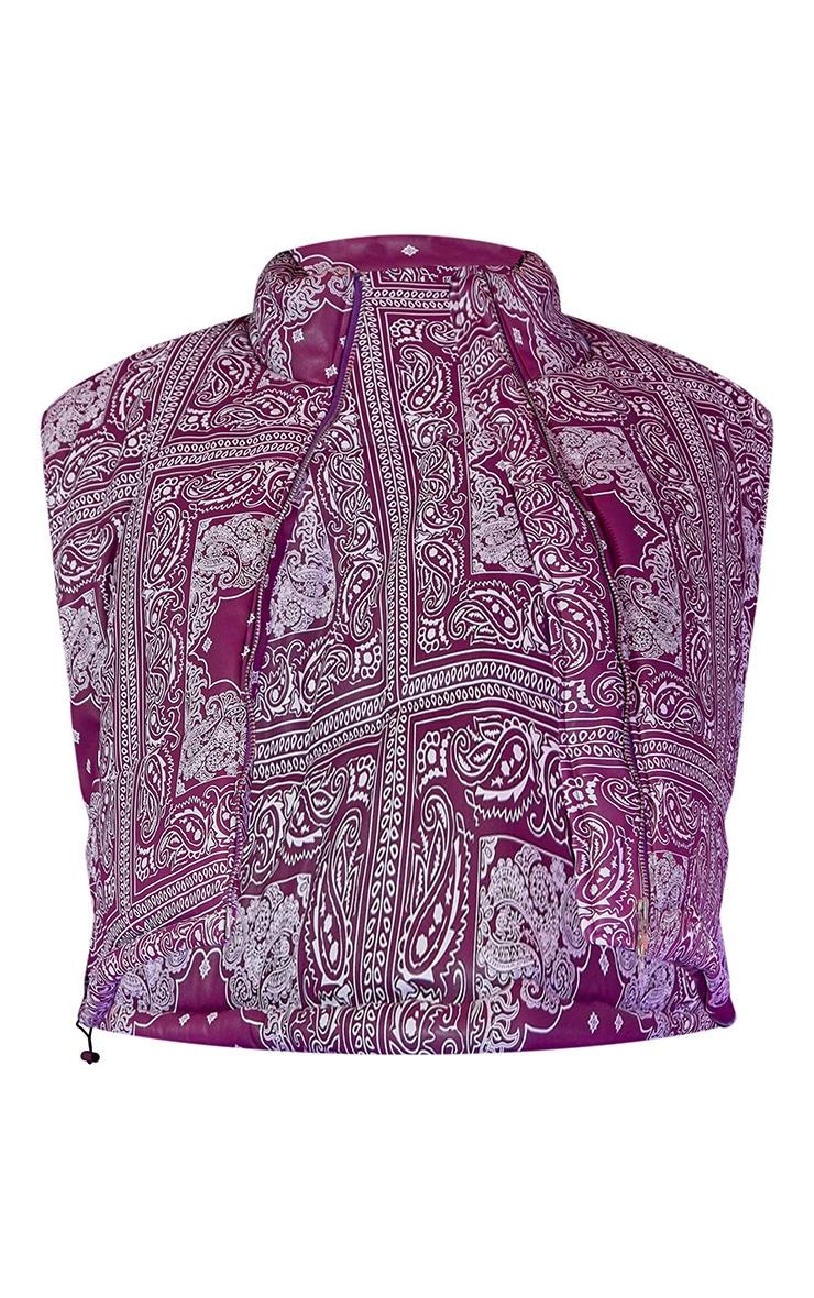 Plus Purple Unisex Paisley PU Oversized Vest 6