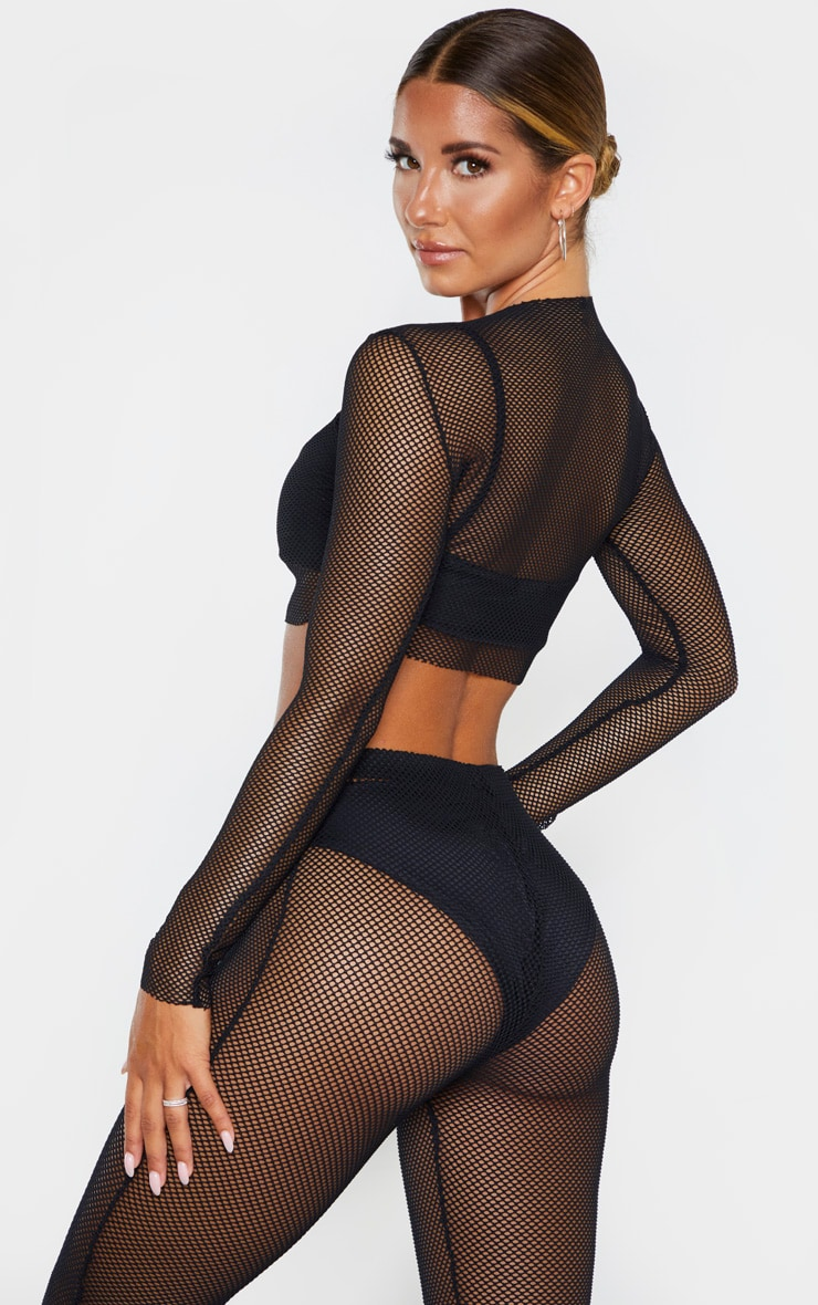 Black Fishnet Long Sleeved Crop Top 2