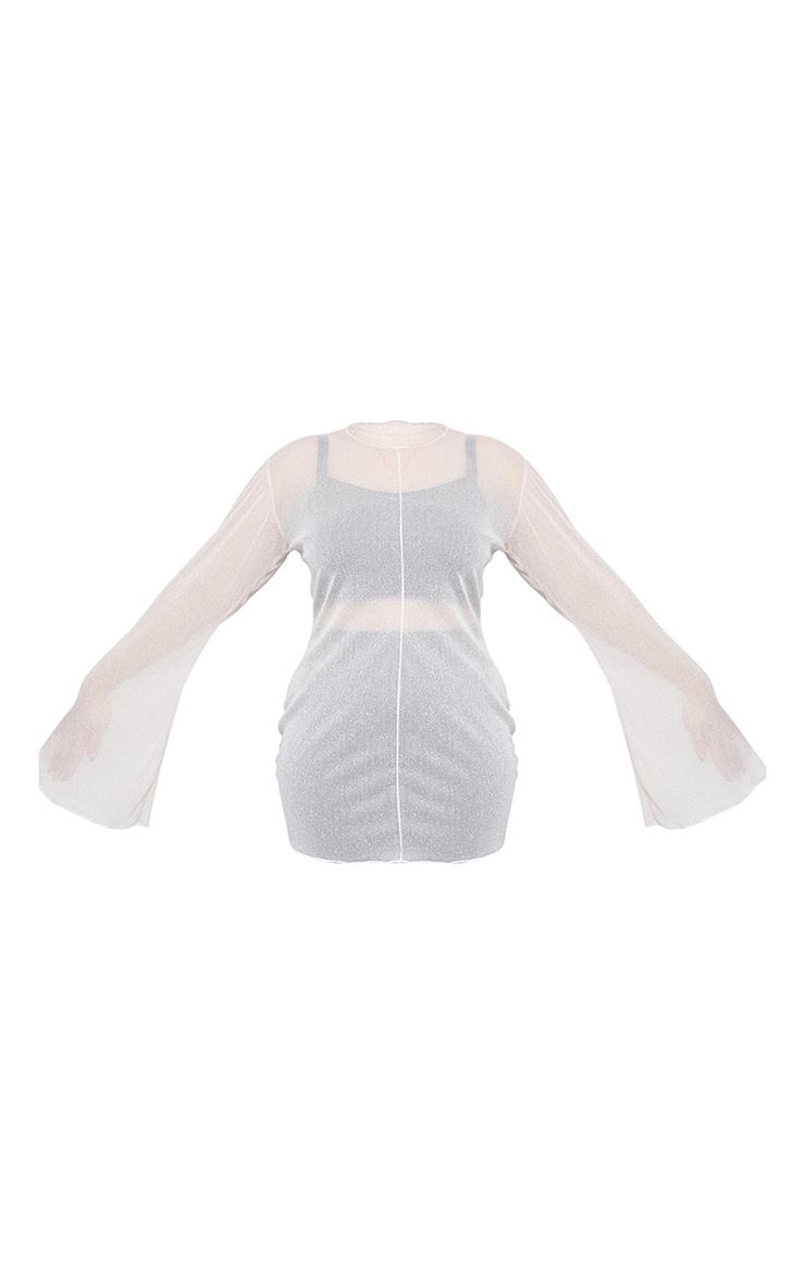 Plus Baby Pink Mesh Flare Sleeve Mini Dress 2