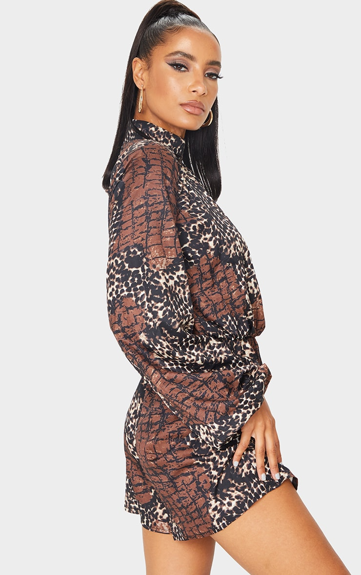 Brown Animal Print High Neck Balloon Sleeve Playsuit 2