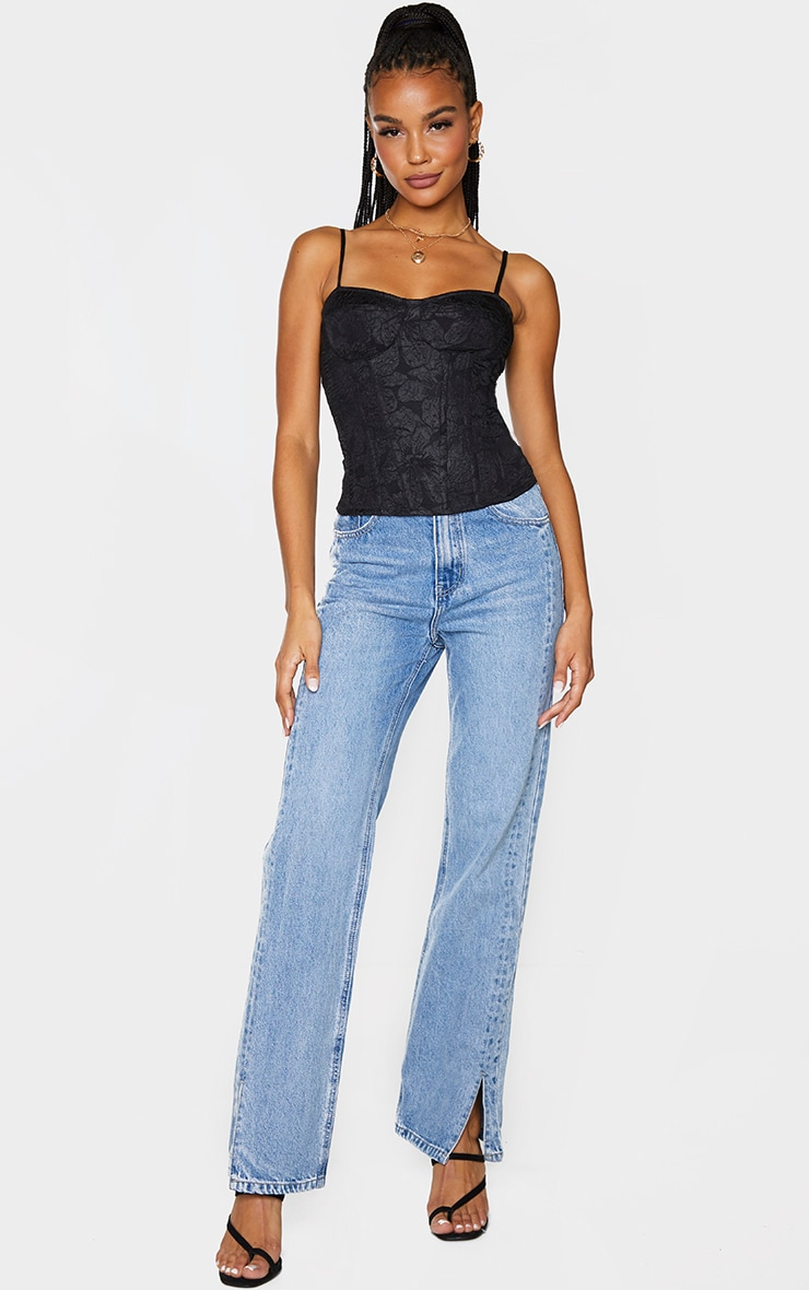 Black Woven Embossed Jacquard Structured Long Top 3