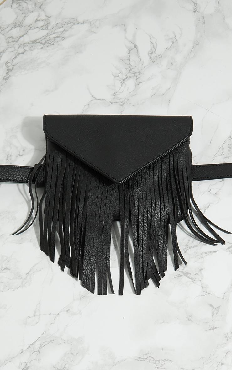 Sac ceinture noir à franges 3