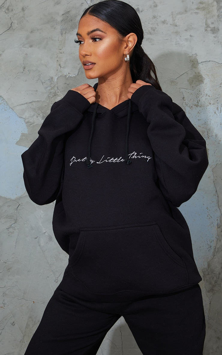 PRETTYLITTLETHING Maternity Black Embroidered Hoodie