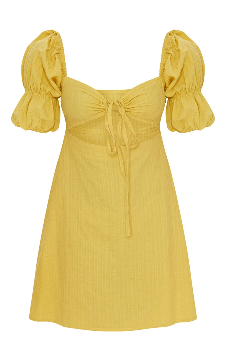 Yellow Woven Tie Detail Cut Out Puff Sleeve Shift Dress 5