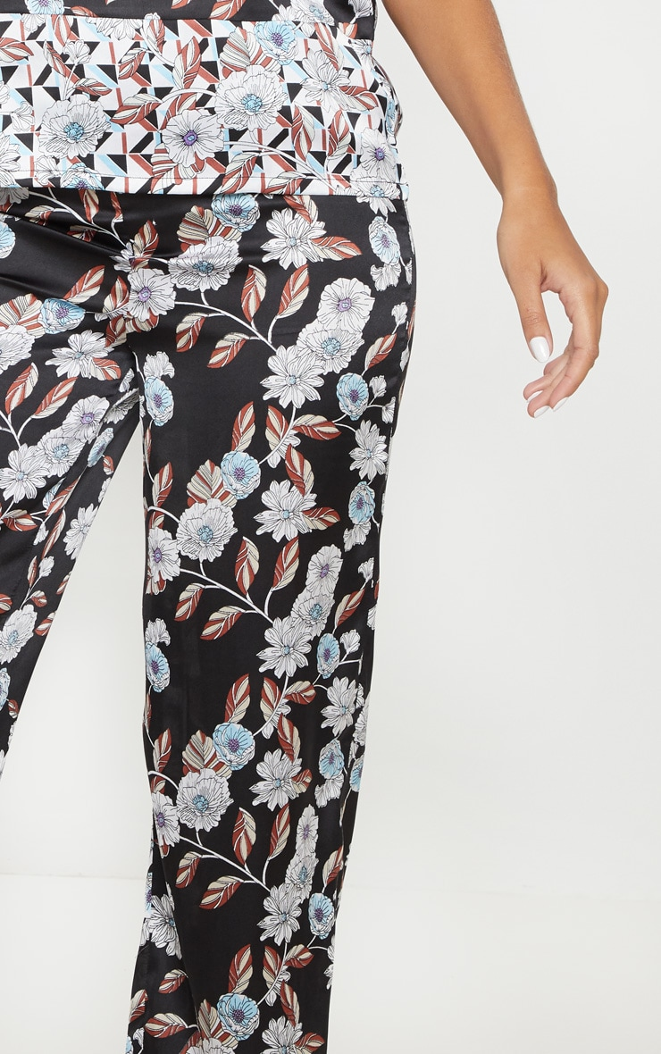 Black Geo Floral Satin Long Pyjama Bottom 5