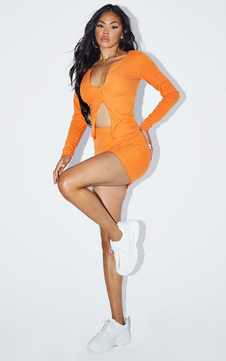 Bright Orange Soft Brushed Rib Mini Skirt 1