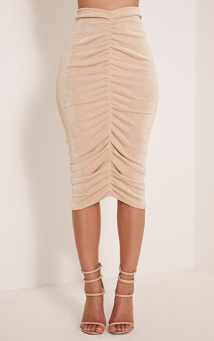 Remmie Stone Ruched Midi Skirt 2