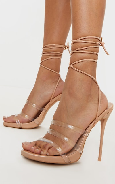 Nude Wide Fit Clear Strap Ankle Tie Square Toe High Sandal