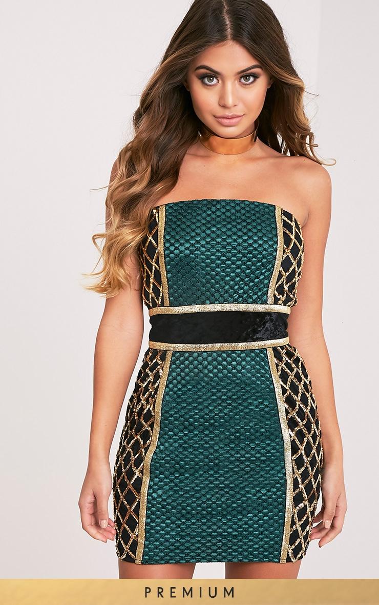 Ezmai Emerald Green Premium Sequin Panel Bodycon Dress 2