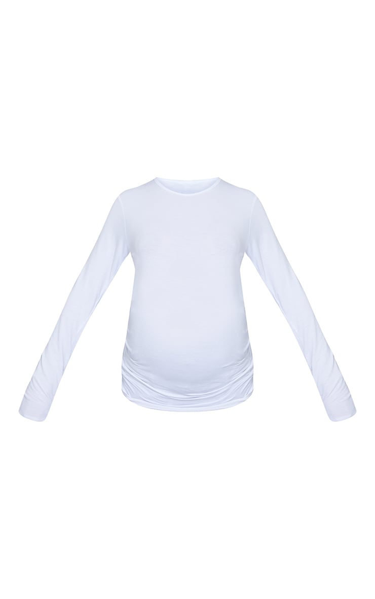 Maternity White Basic Long Sleeve Fitted Top 5