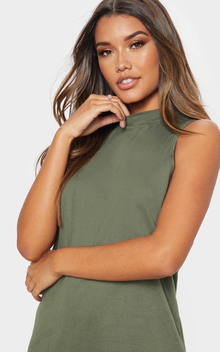 Khaki Sleeveless Oversized T Shirt Dress 5