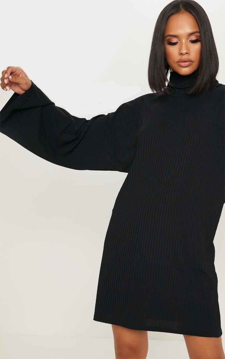 Black Wide Rib High Neck Oversized Jumper Dress 5