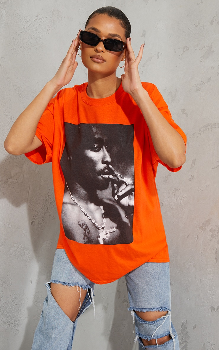Orange Tupac Portrait Print T Shirt 3