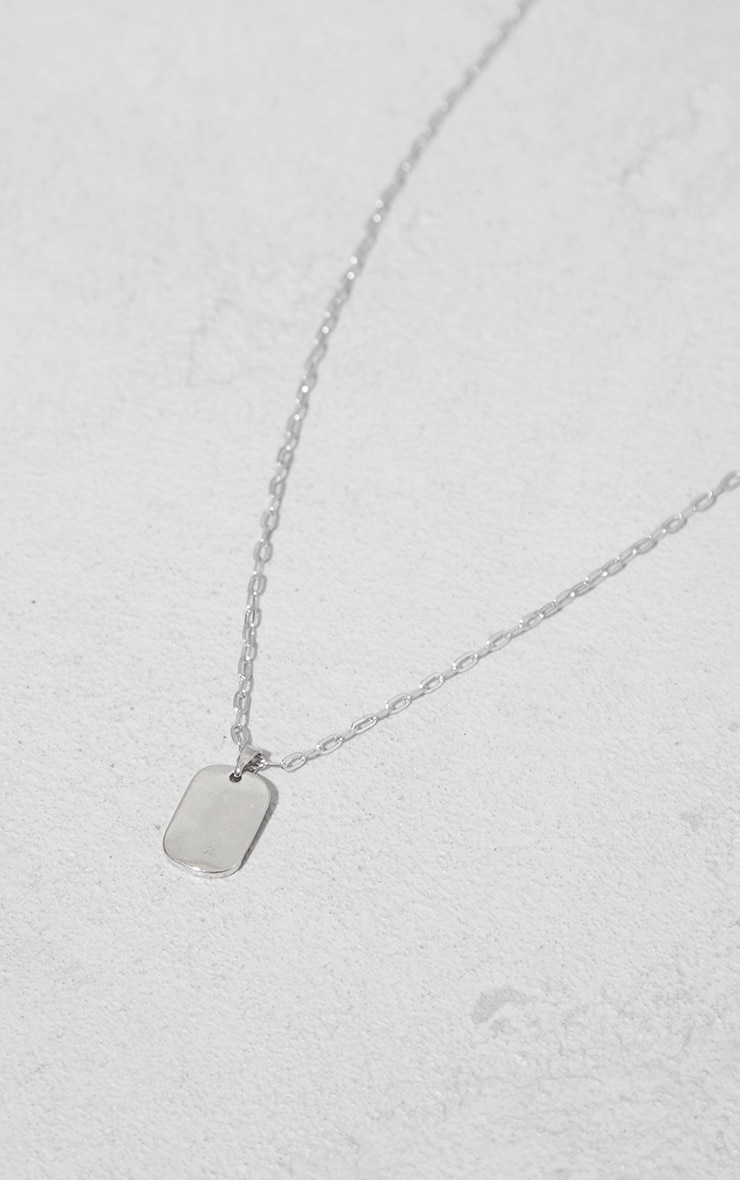 Silver Dainty Dog Tag Necklace 4