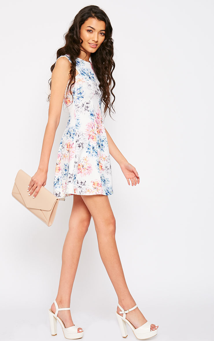Scarlett Cream Floral Skater Dress 3