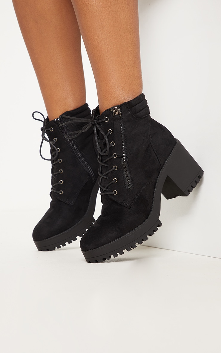 Black Lace Up Side Zip Chunky Boot 2