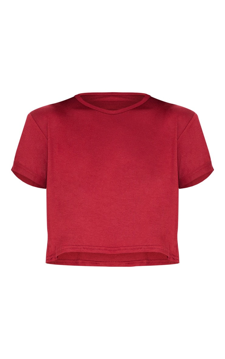 Basic Deep Burgundy Roll Sleeve Crop T Shirt 3
