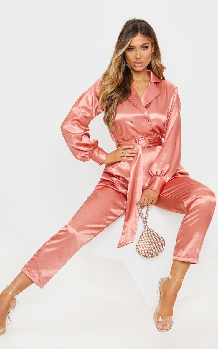 Pink Satin Balloon Sleeve Blazer Jumpsuit 5