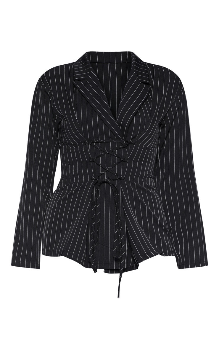Black Pinstripe Lace Up Corset Shirt 3