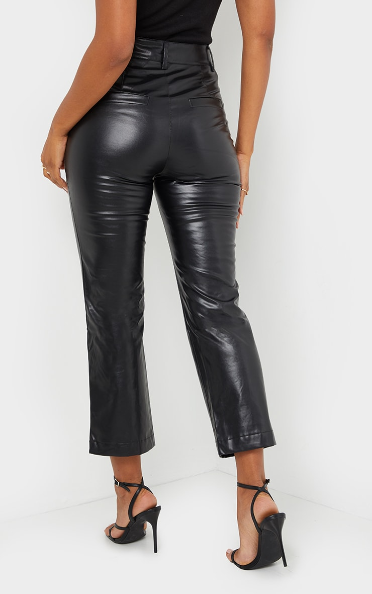Black Faux Leather Cropped Trouser 3