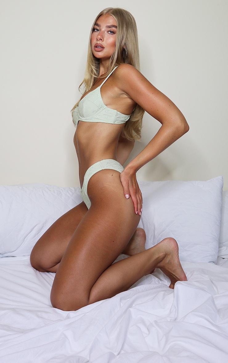 Sage Green Broderie Mini Bikini Bottoms 3