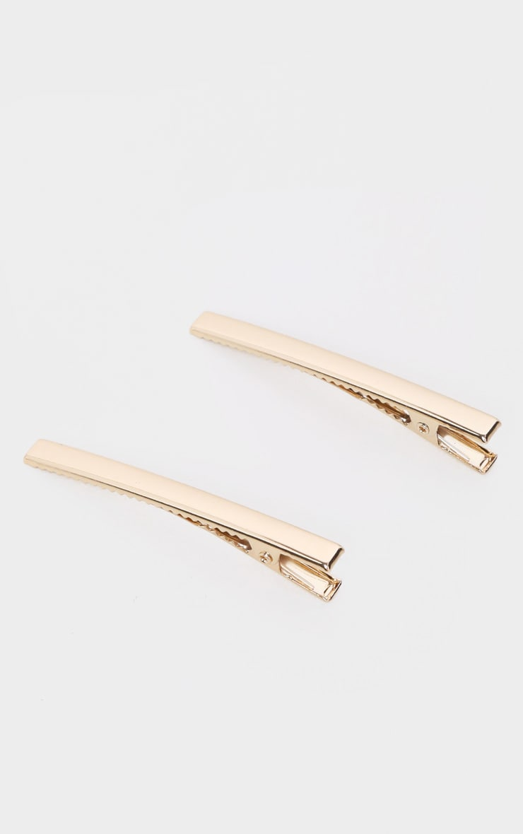 Gold Two Pack Hair Clips 2