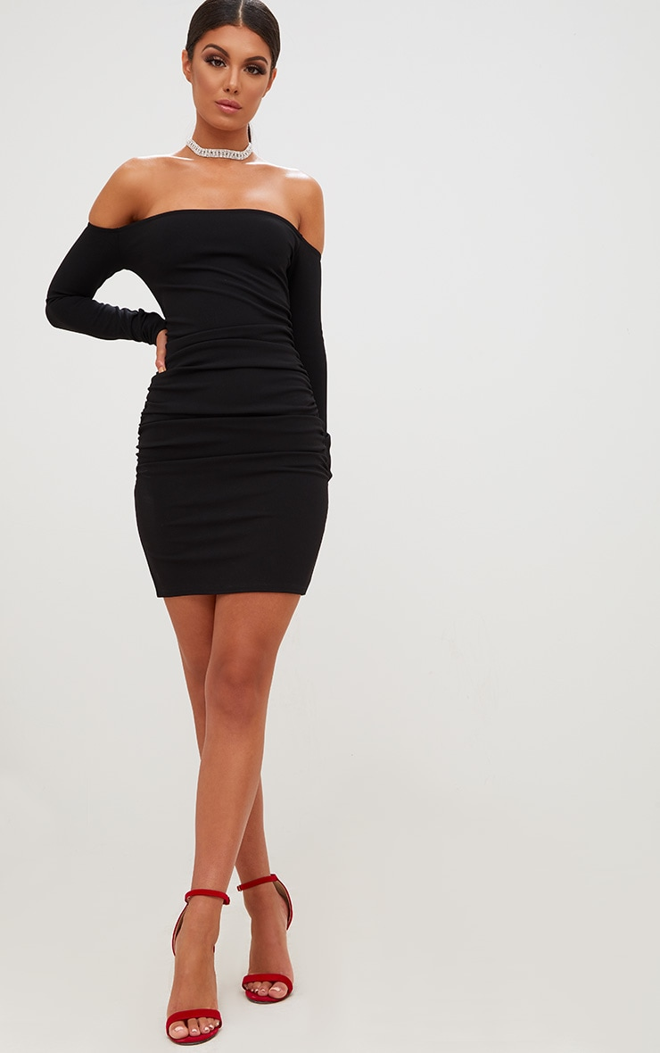 Black Long Sleeve Ruched Bardot Bodycon Dress