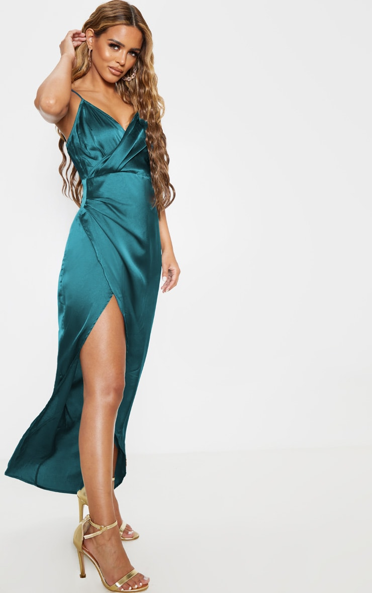 Petite Jasper Green Satin Wrap Detail Maxi Dress  4