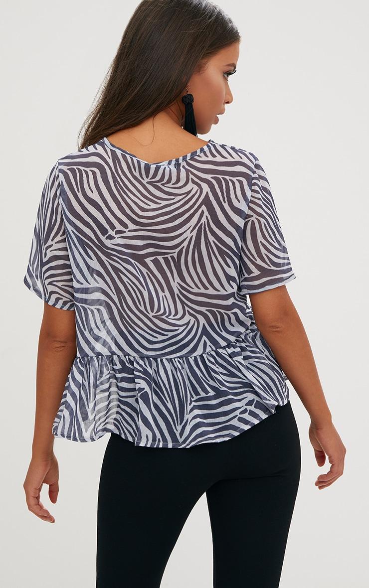 Black Zebra Print Mesh Frill Sleeve T Shirt 2