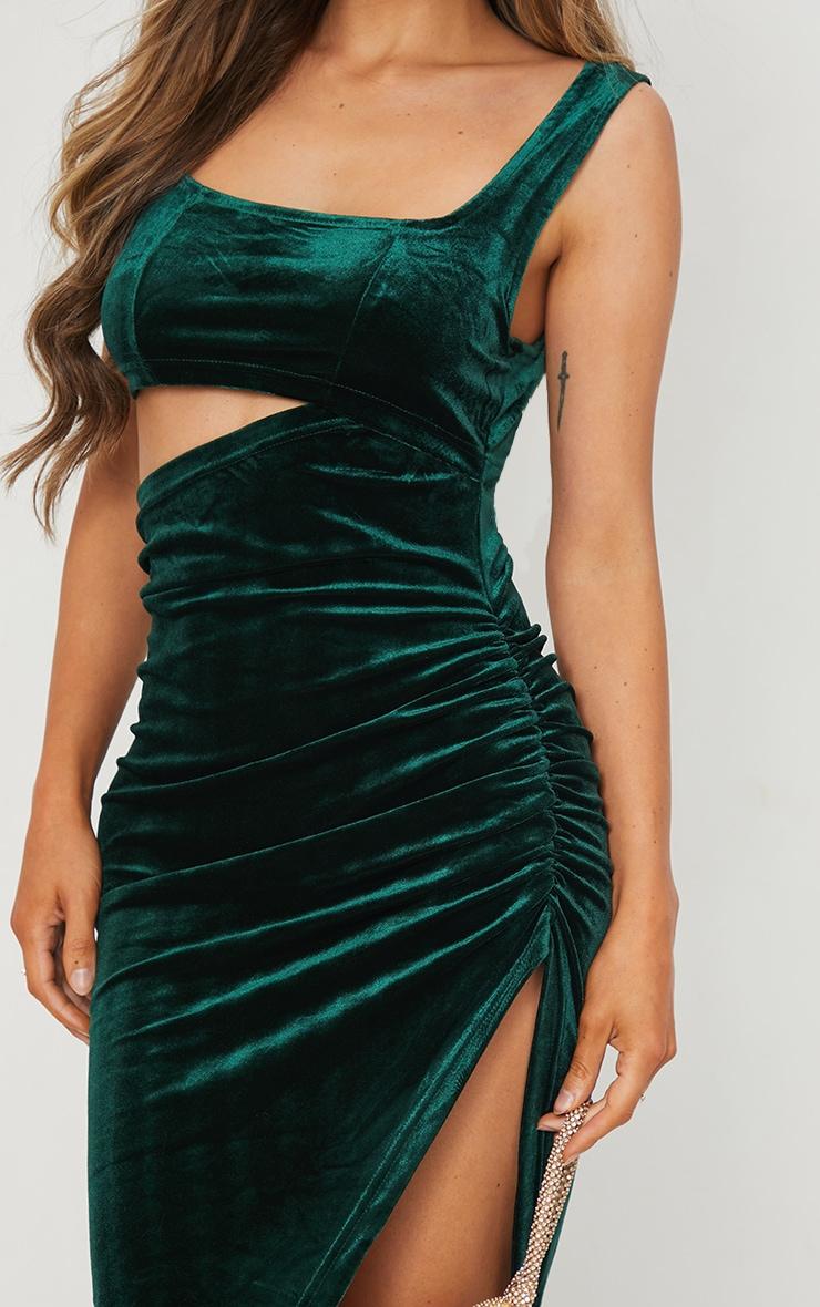 Emerald Green Velvet Sleeveless Cut Out Midi Dress 4