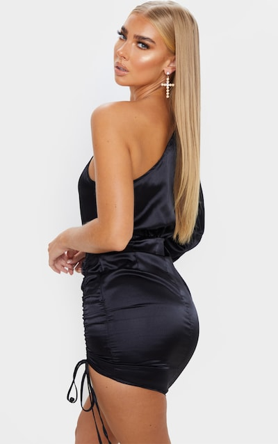 Black One Shoulder Ruched Satin Bodycon Dress