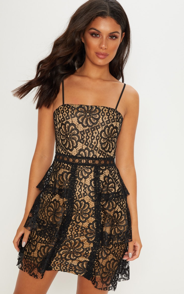 Black Lace Tiered Strappy Skater Dress 1