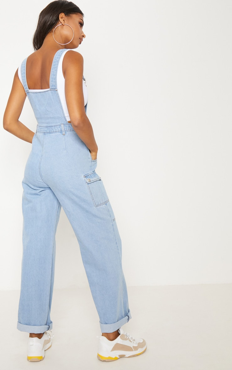 Light Wash Denim Wide Leg Dungarees 3