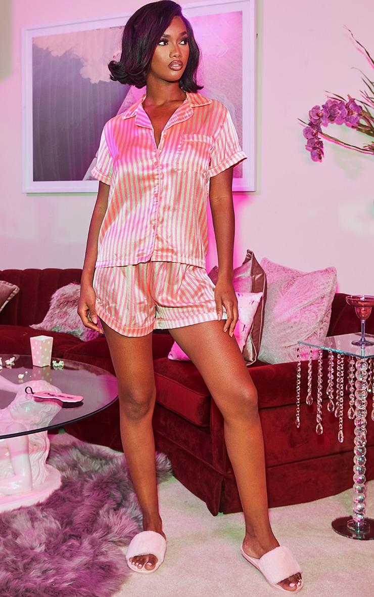 Pink Satin Stripe Button Up Short PJ Set 4