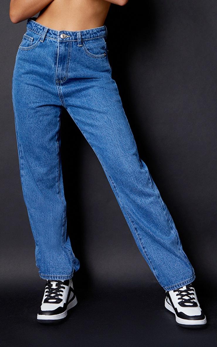 PRETTYLITTLETHING Petite Mid Blue Straight Leg Jeans 2
