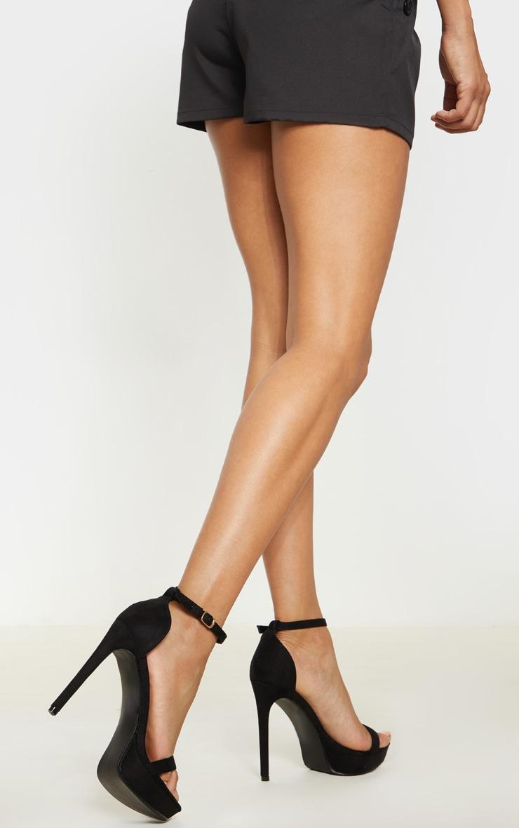 Black Platform Strap Heeled Sandal 2