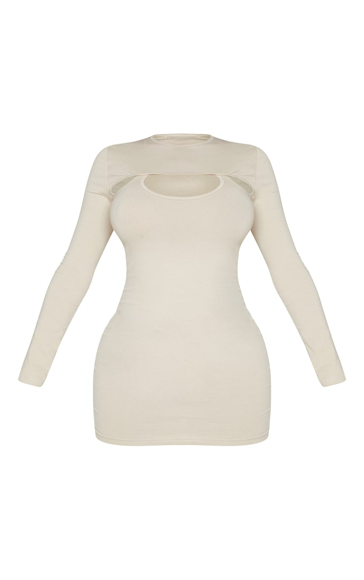 Recycled Shape Stone Cotton Cut Out Long Sleeve Bodycon Dress 5