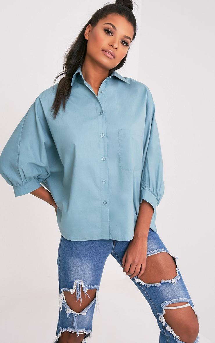 Ariane chemise bleu pétrole à manches chauve-souris 1
